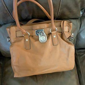 Great Michael Kors cross body satchel tan purse